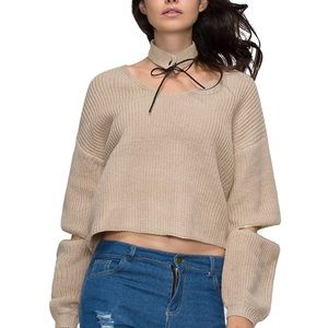 Boutique crop nude sweater with sleeve zips